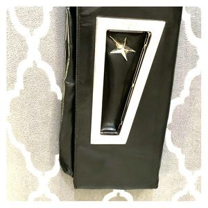 VINTAGE Thierry Mugler black leather star clutch